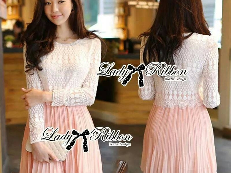 b6d23e1109ec Lady Mina Smart Casual Lace and Pleated Dress